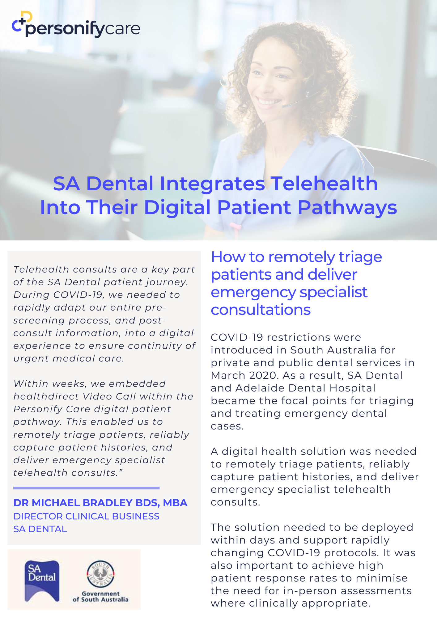SA Dental HealthDirect & Personify Care Case Study Cover Image